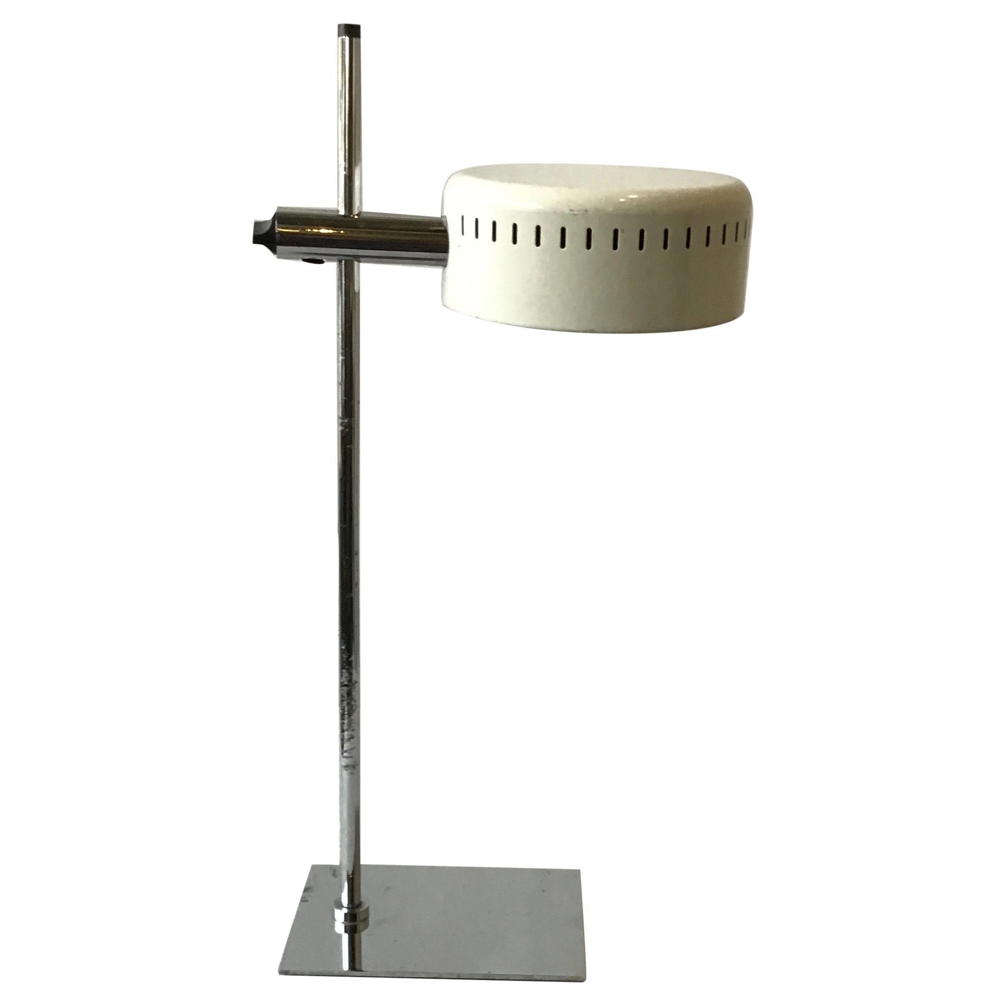 1970s Robert Sonneman Chrome and Painted Metal Table Lamp