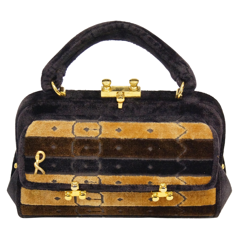 1970s Roberta di Camerino Brown Cut Velvet Belt Detail Handbag