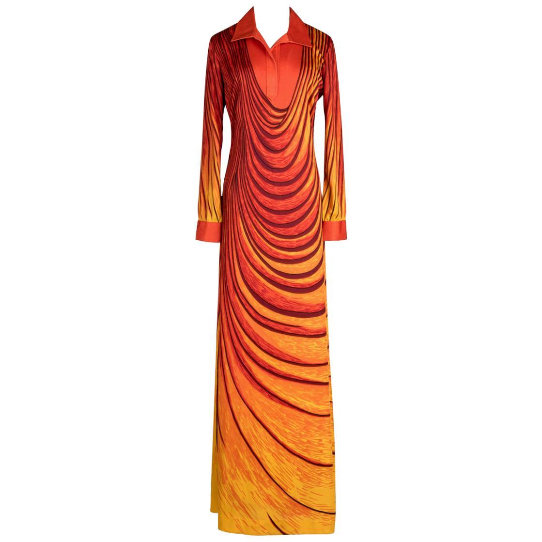 """1970s ROBERTA DI CAMERINO """"Dream"""" Orange Yellow Trompe l'Oeil Print Maxi Dress"""