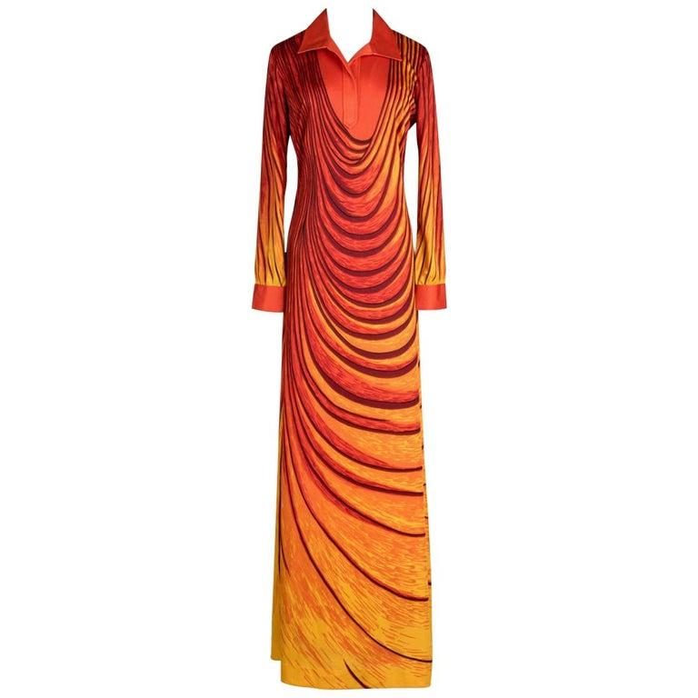 """1970s ROBERTA DI CAMERINO """"Dream"""" Orange Yellow Trompe l'Oeil Print Maxi Dress For Sale"""
