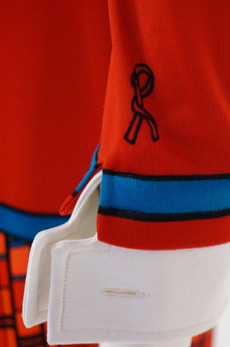 1970s Roberta di Camerino Red and Blue Trompe L'oeil Sweater & Skirt Midi Dress For Sale 6