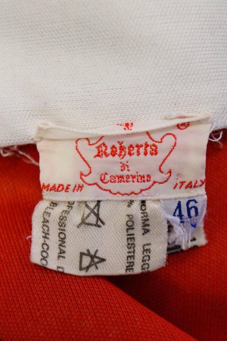 1970s Roberta di Camerino Red and Blue Trompe L'oeil Sweater & Skirt Midi Dress For Sale 7