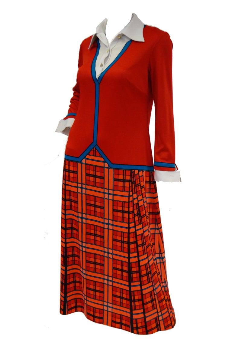 Women's 1970s Roberta di Camerino Red and Blue Trompe L'oeil Sweater & Skirt Midi Dress For Sale