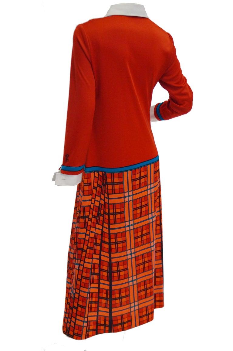 1970s Roberta di Camerino Red and Blue Trompe L'oeil Sweater & Skirt Midi Dress For Sale 1
