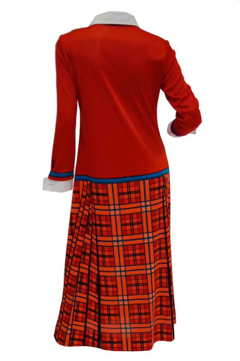 1970s Roberta di Camerino Red and Blue Trompe L'oeil Sweater & Skirt Midi Dress For Sale 2