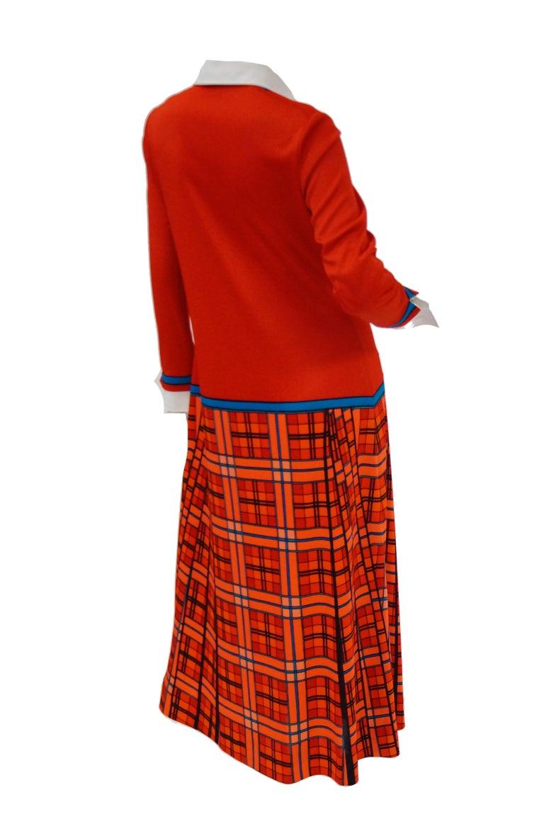 1970s Roberta di Camerino Red and Blue Trompe L'oeil Sweater & Skirt Midi Dress For Sale 3