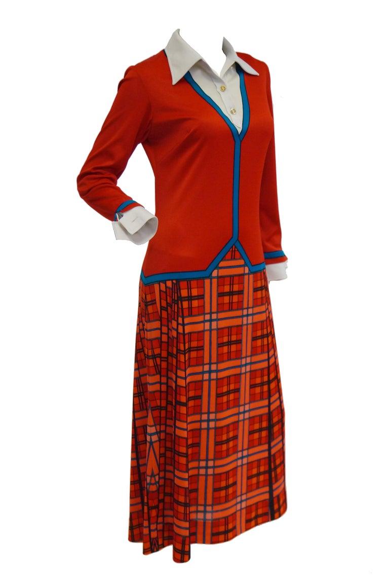 1970s Roberta di Camerino Red and Blue Trompe L'oeil Sweater & Skirt Midi Dress For Sale 4