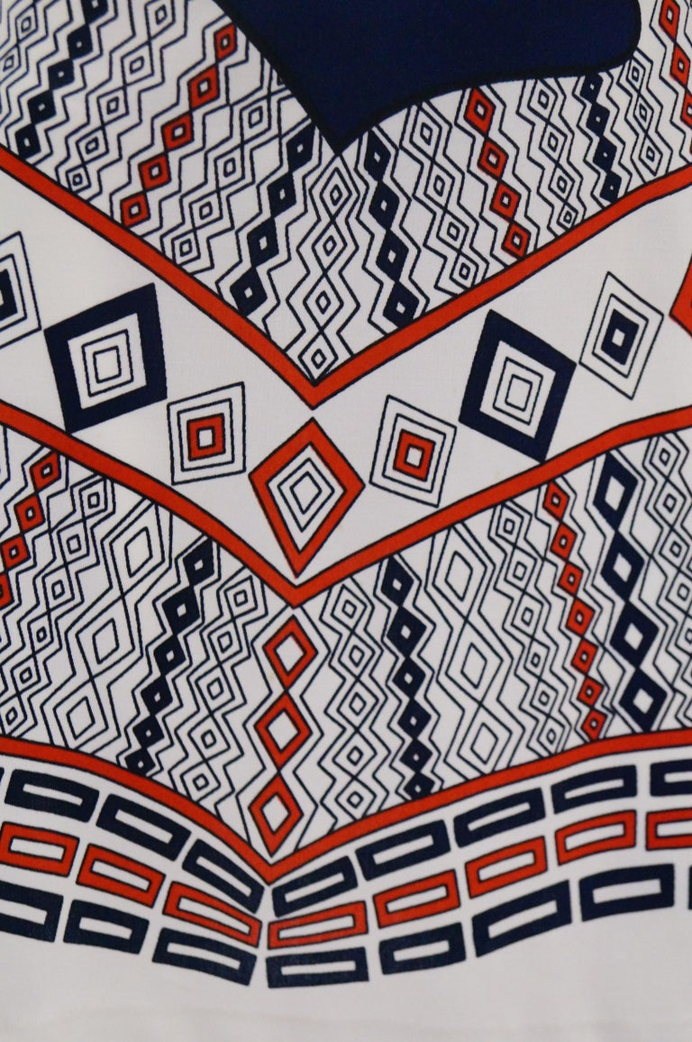 1970er Jahre Roberta di Camerino Rot Blau und Weiß Trompe l ' oeil Kleid 2
