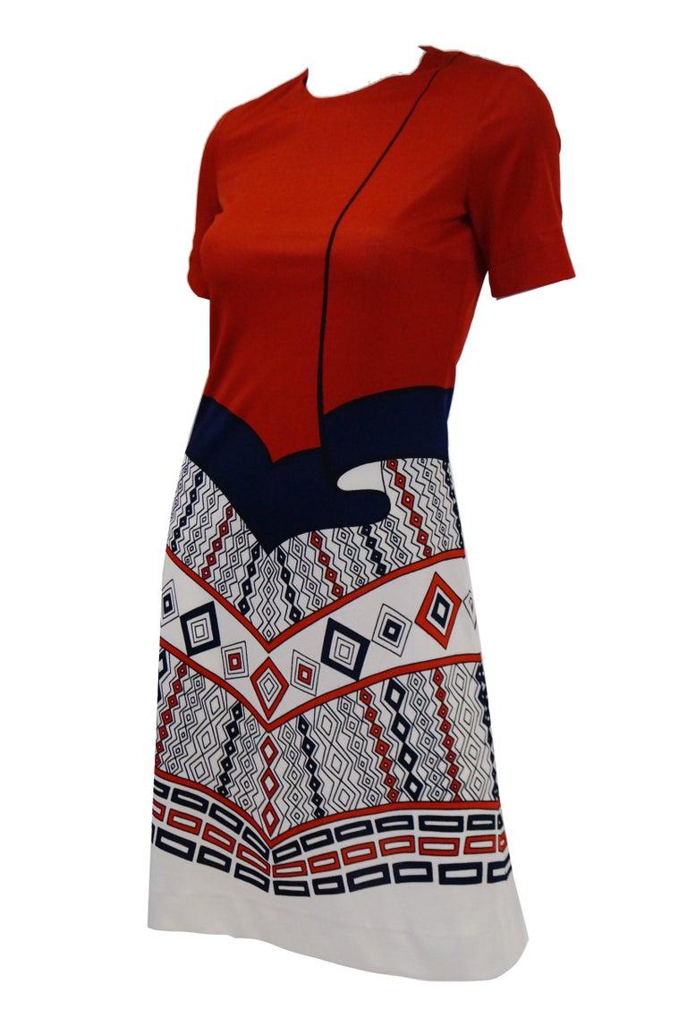 1970er Jahre Roberta di Camerino Rot Blau und Weiß Trompe l ' oeil Kleid 3