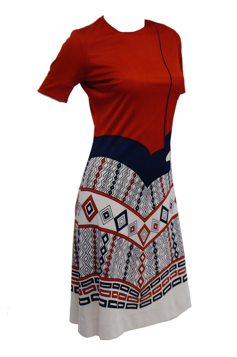 Women's 1970s Roberta di Camerino Red Blue and White Trompe L'oeil Dress For Sale
