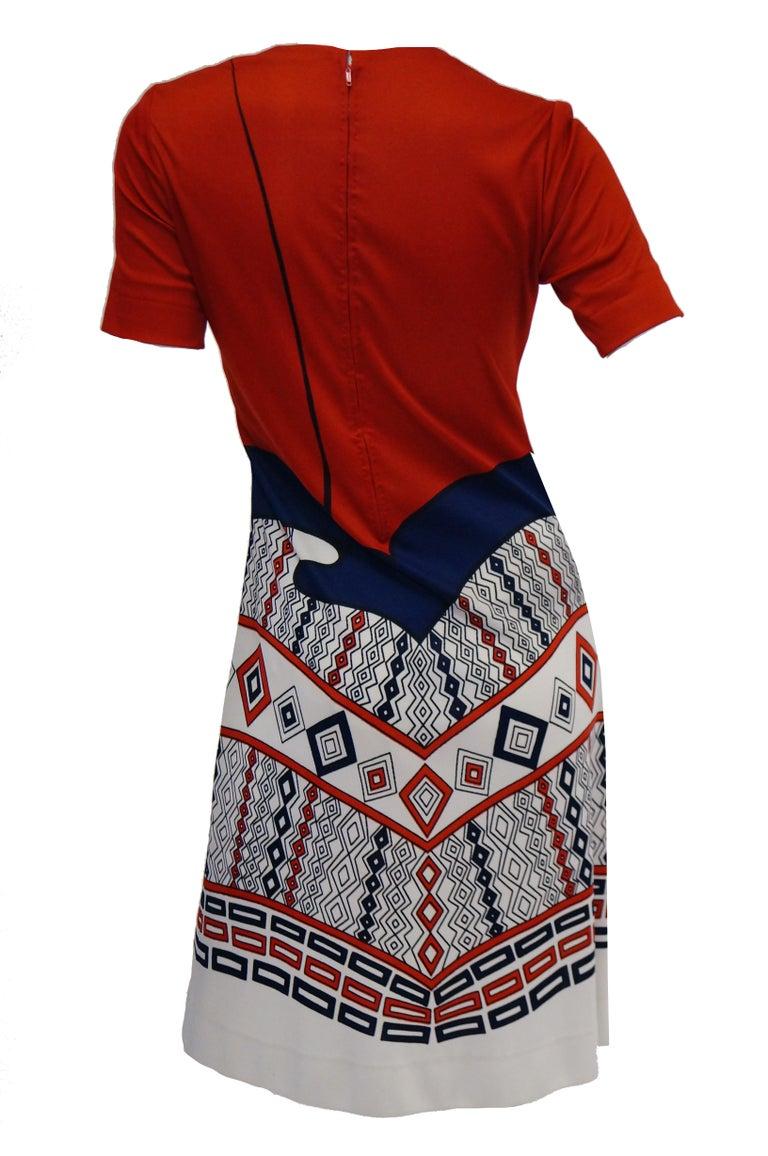 1970s Roberta di Camerino Red Blue and White Trompe L'oeil Dress For Sale 2