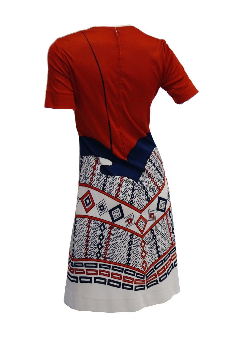 1970s Roberta di Camerino Red Blue and White Trompe L'oeil Dress For Sale 3