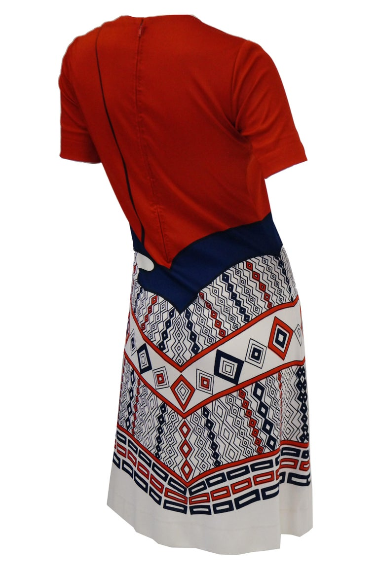 1970er Jahre Roberta di Camerino Rot Blau und Weiß Trompe l ' oeil Kleid 8