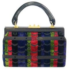 1970s Roberta di Camerino Red Green Navy Black Stripe Devore Velvet Handbag
