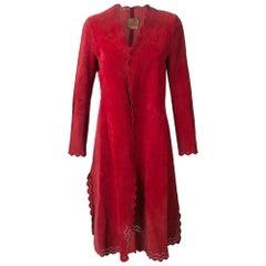 1970s Roberta di Camerino Red Suede Coat