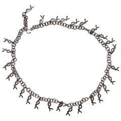 1970s Roberta di Camerino Silver Metal Logo Charm Chain Link Belt Necklace Strap