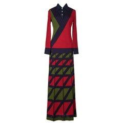 """1970s Roberta di Camerino """"Zig Zag"""" Trompe l'Oeil Red Green Blue Wool Maxi Dress"""