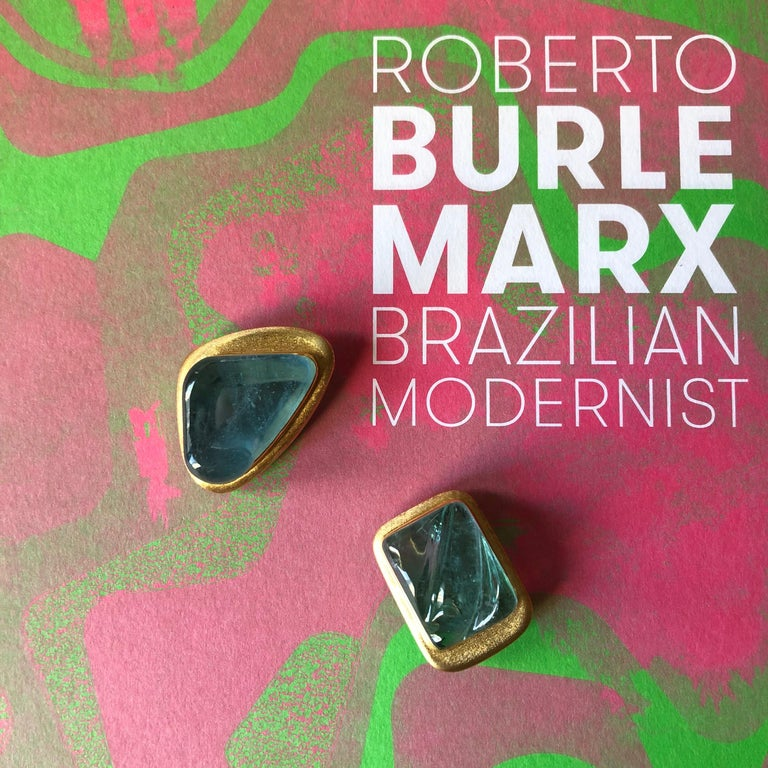 Modernist 1970s Roberto and Haroldo Burle Marx Forma Livre Aquamarine and Gold Brooch For Sale