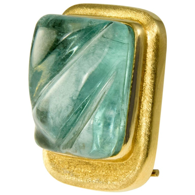 1970s Roberto and Haroldo Burle Marx Forma Livre Aquamarine and Gold Brooch For Sale