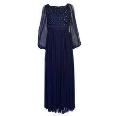1970s Roberto Capucci Deep Blue Chiffon Dress w Beaded Pintuck Bodice