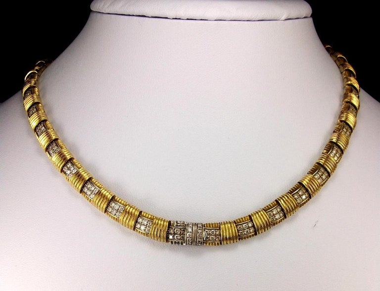 Women's or Men's 1970s Roberto Coin 4.50 Carat Diamonds and Yellow Gold Necklace and Ring For Sale