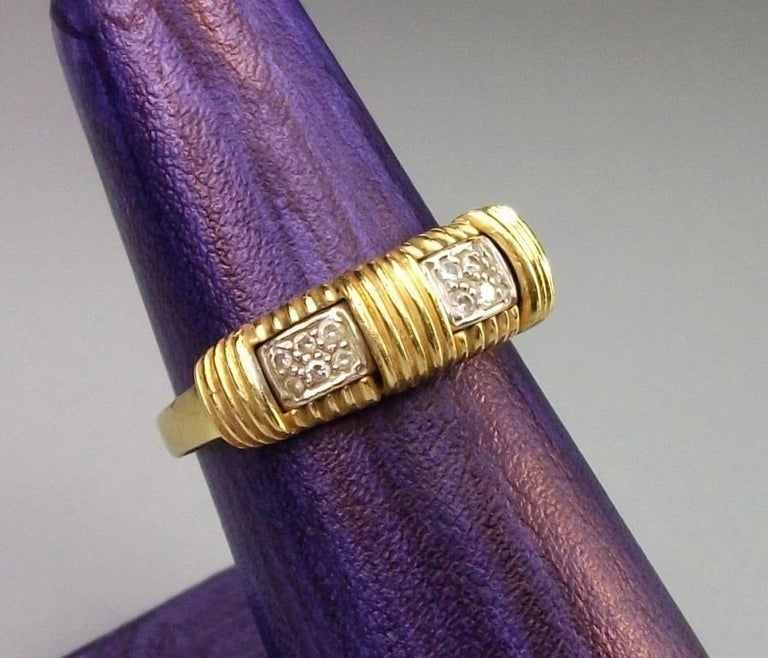 1970s Roberto Coin 4.50 Carat Diamonds and Yellow Gold Necklace and Ring For Sale 1