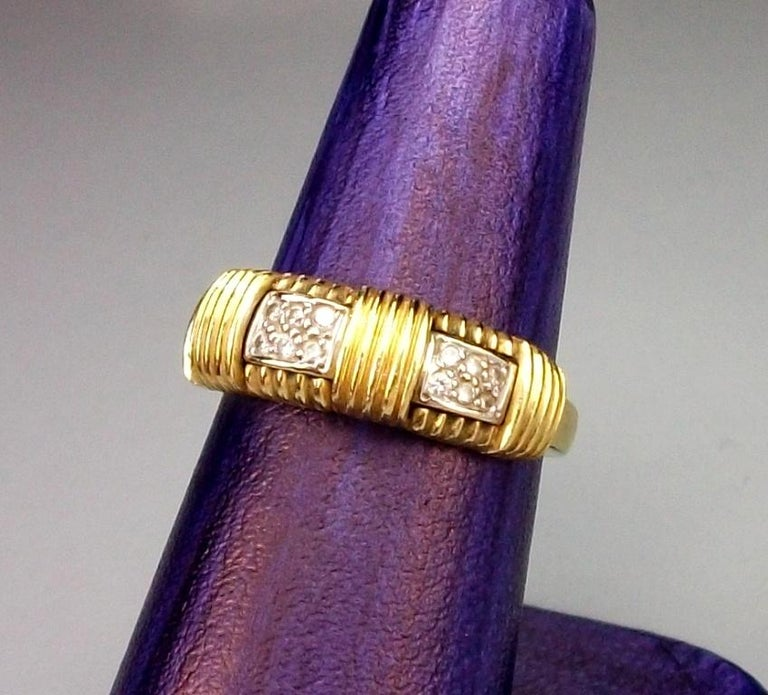 1970s Roberto Coin 4.50 Carat Diamonds and Yellow Gold Necklace and Ring For Sale 2