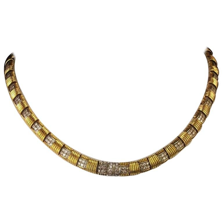 1970s Roberto Coin 4.50 Carat Diamonds and Yellow Gold Necklace and Ring For Sale