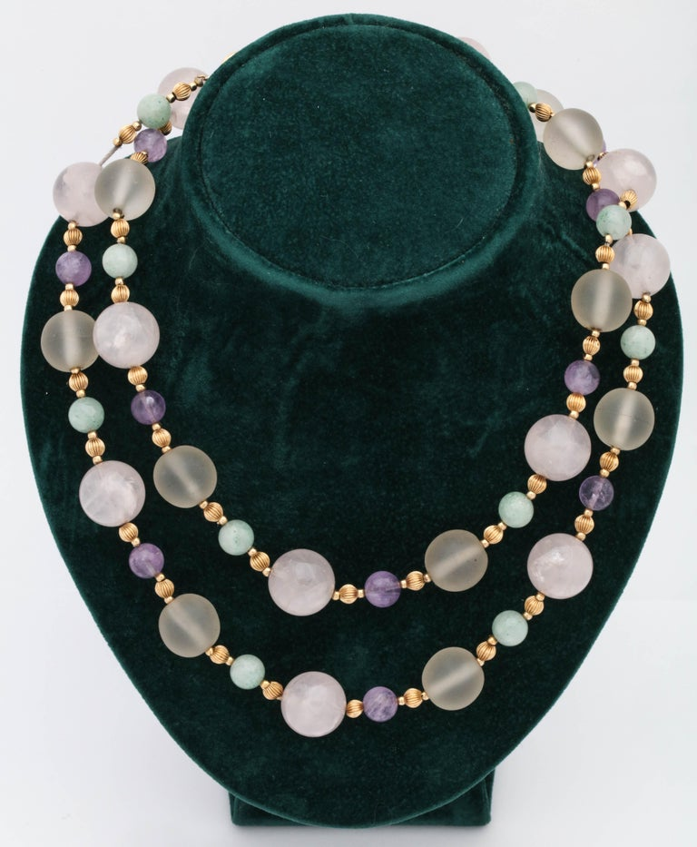 1970s Rock Crystal and Amethyst with Jade Beads Long Gold Chain Necklace In Good Condition For Sale In New York, NY