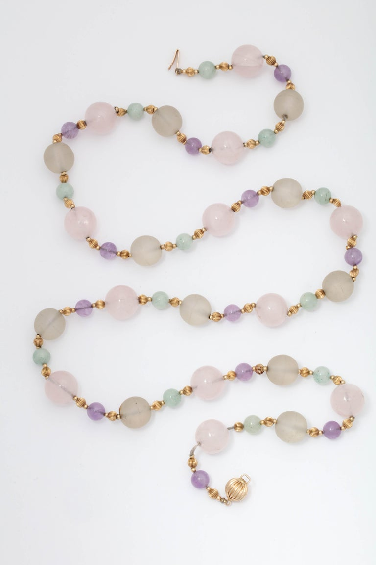 Women's 1970s Rock Crystal and Amethyst with Jade Beads Long Gold Chain Necklace For Sale