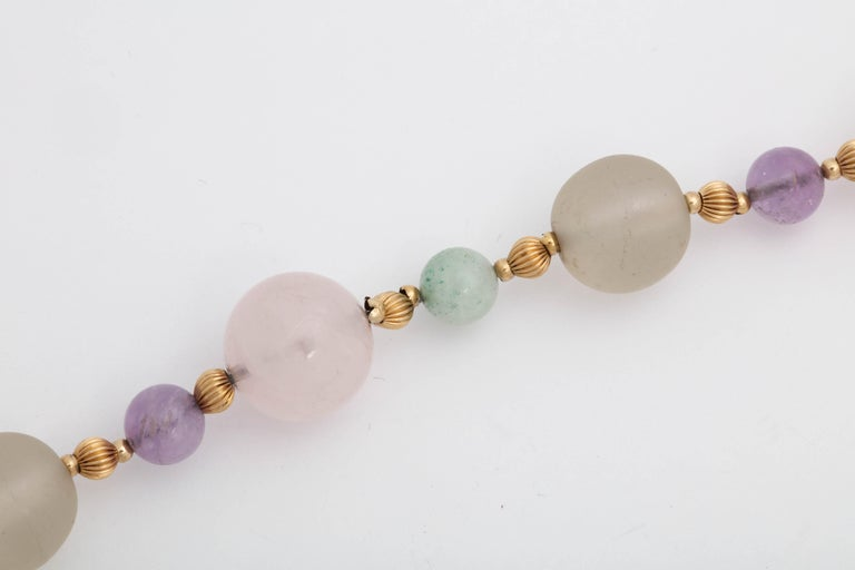 1970s Rock Crystal and Amethyst with Jade Beads Long Gold Chain Necklace For Sale 2