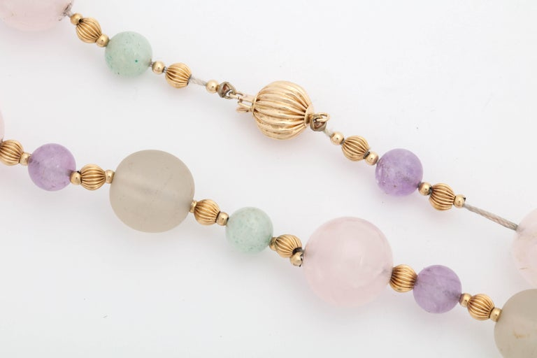 1970s Rock Crystal and Amethyst with Jade Beads Long Gold Chain Necklace For Sale 4