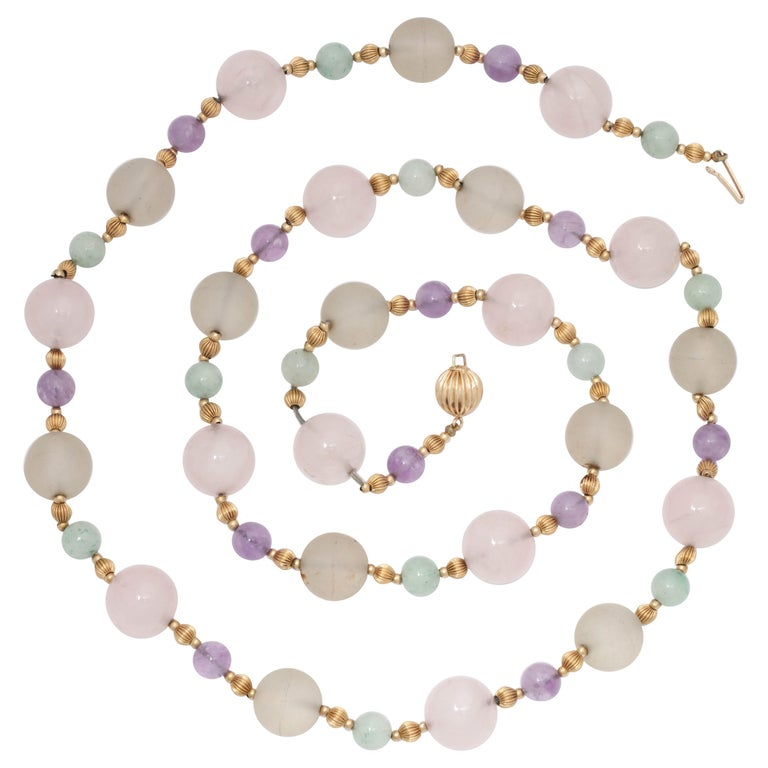 1970s Rock Crystal and Amethyst with Jade Beads Long Gold Chain Necklace For Sale
