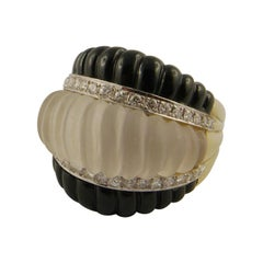 1970s Rock Crystal, Onyx, Diamond and Yellow Gold Ring