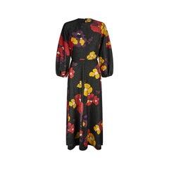 1970s Rodrigues Floral Lame Maxi Dress
