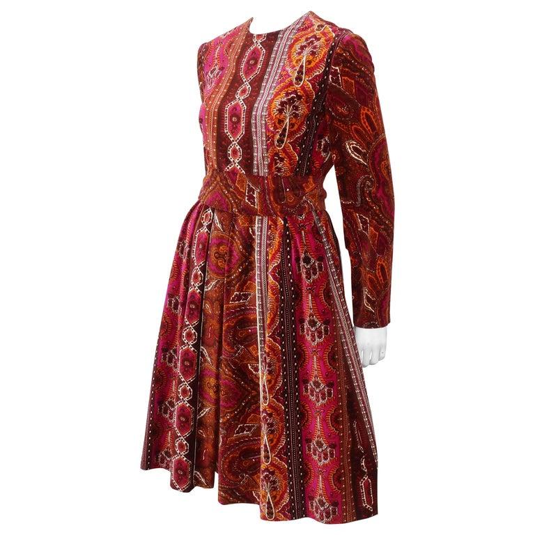 2dbaf32ef3 1970 s Rodrigues Pleated Velvet Dress With Sash For Sale at 1stdibs