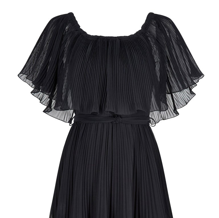 Women's 1970s Roland Klein Black Pleated Chiffon Cocktail Dress  For Sale