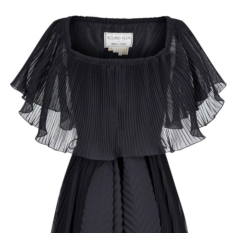 1970s Roland Klein Black Pleated Chiffon Cocktail Dress  For Sale 1