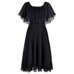 1970s Roland Klein Black Pleated Chiffon Cocktail Dress