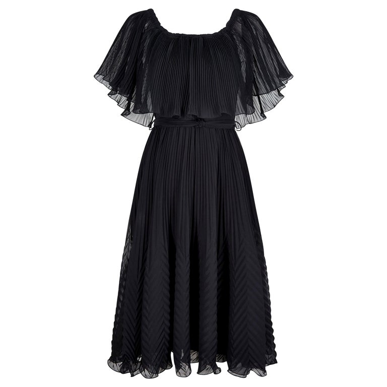 1970s Roland Klein Black Pleated Chiffon Cocktail Dress  For Sale
