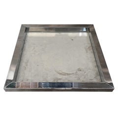 1970s Romeo Rega Modernist Silver Plated and Glass Square Tray
