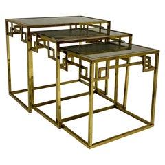 1970s Romeo Rega Neoclassical Style Italian Brass Greek Key Nesting Tables