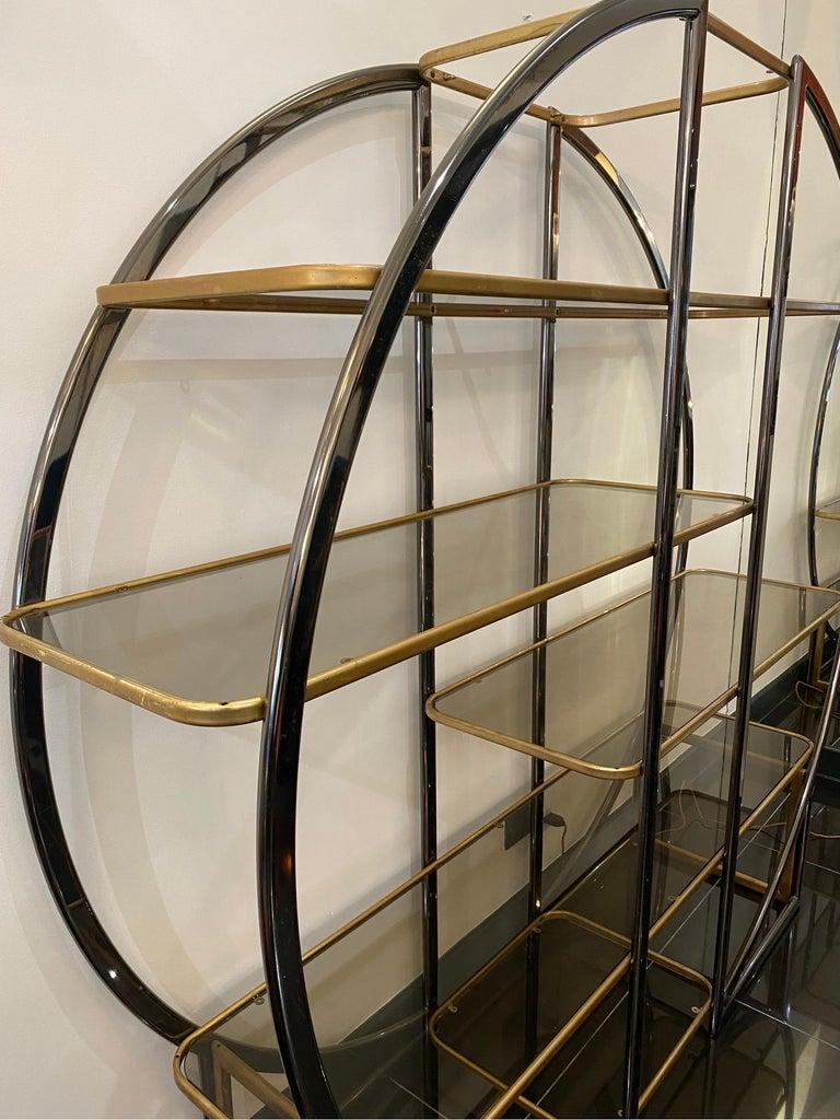 Italian 1970s Romeo Rega Room Divider Library For Sale