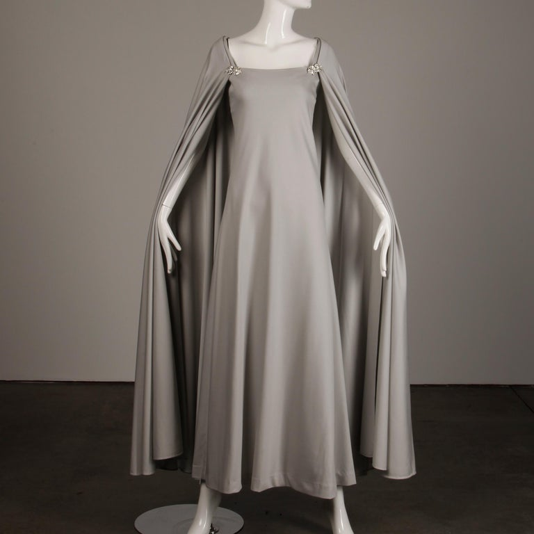 1970s Rona Vintage Gray Jersey Knit Dress/ Gown with Detachable Rhinestone Cape In Excellent Condition For Sale In Sparks, NV