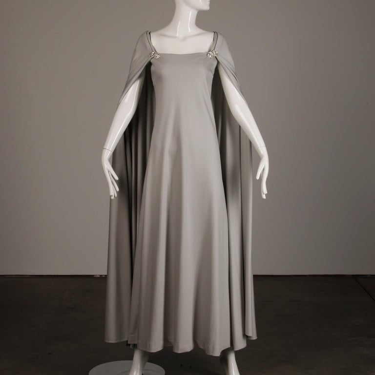 Women's 1970s Rona Vintage Gray Jersey Knit Dress/ Gown with Detachable Rhinestone Cape For Sale