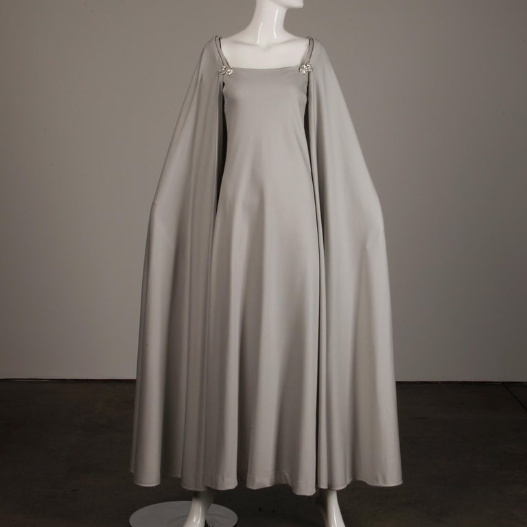 1970s Rona Vintage Gray Jersey Knit Dress/ Gown with Detachable Rhinestone Cape For Sale 1