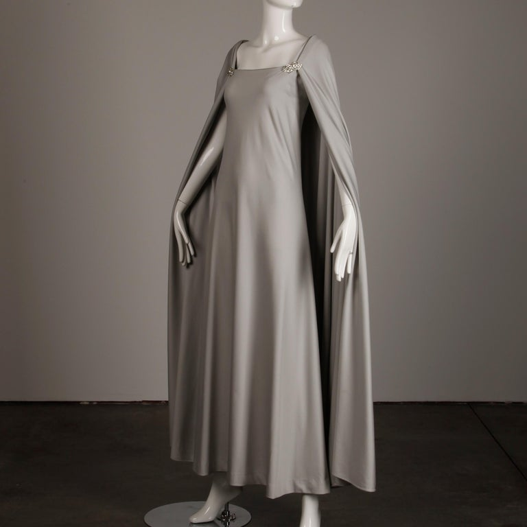 1970s Rona Vintage Gray Jersey Knit Dress/ Gown with Detachable Rhinestone Cape For Sale 2