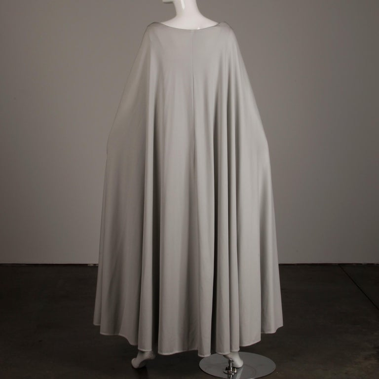 1970s Rona Vintage Gray Jersey Knit Dress/ Gown with Detachable Rhinestone Cape For Sale 3
