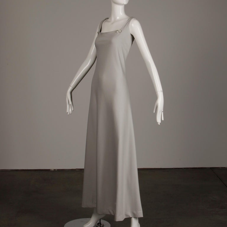 1970s Rona Vintage Gray Jersey Knit Dress/ Gown with Detachable Rhinestone Cape For Sale 4