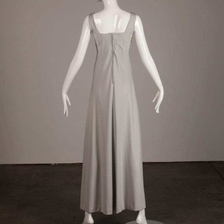 1970s Rona Vintage Gray Jersey Knit Dress/ Gown with Detachable Rhinestone Cape For Sale 5